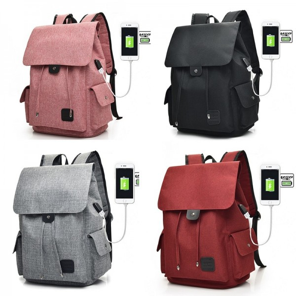 Large Capacity Canvas Shoulder Bags Unisex Solid USB Charging Laptop Backpack Women Men High Quality Travel Bags Extra Image 4