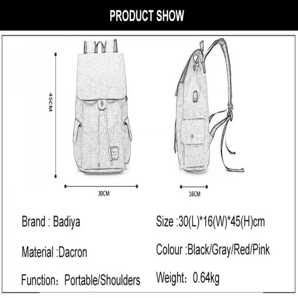 Large Capacity Canvas Shoulder Bags Unisex Solid USB Charging Laptop Backpack Women Men High Quality Travel Bags Extra Image 5