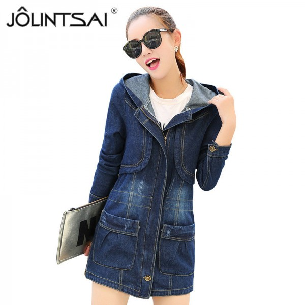 Large Size Casual Denim Jacket Women Long Sleeve Hooded Spring Autumn Mid Length Coats Slim Hot New Outerwear Plus Size Extra Image 1
