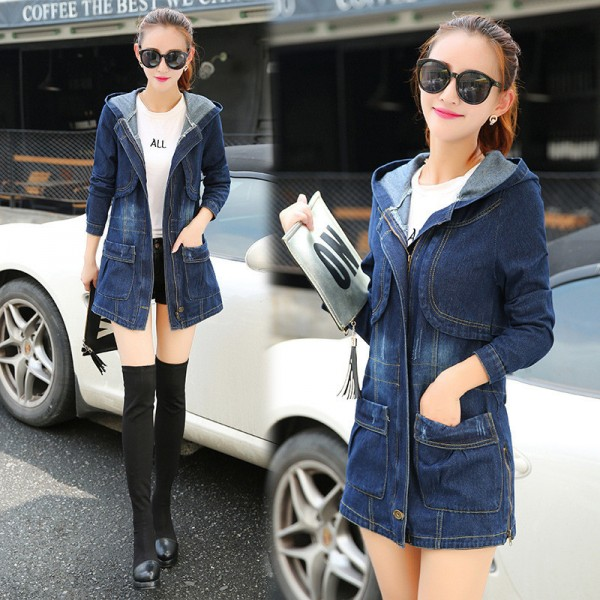 Large Size Casual Denim Jacket Women Long Sleeve Hooded Spring Autumn Mid Length Coats Slim Hot New Outerwear Plus Size Extra Image 2