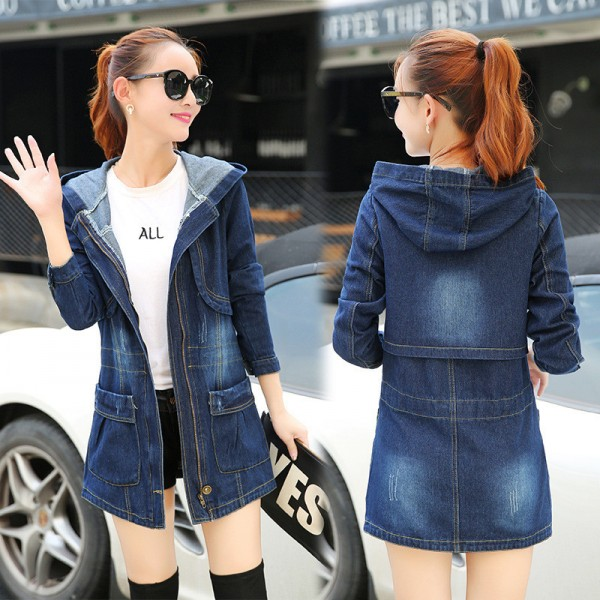 Large Size Casual Denim Jacket Women Long Sleeve Hooded Spring Autumn Mid Length Coats Slim Hot New Outerwear Plus Size Extra Image 3