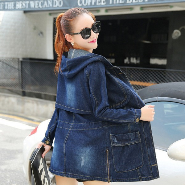 Large Size Casual Denim Jacket Women Long Sleeve Hooded Spring Autumn Mid Length Coats Slim Hot New Outerwear Plus Size Extra Image 5