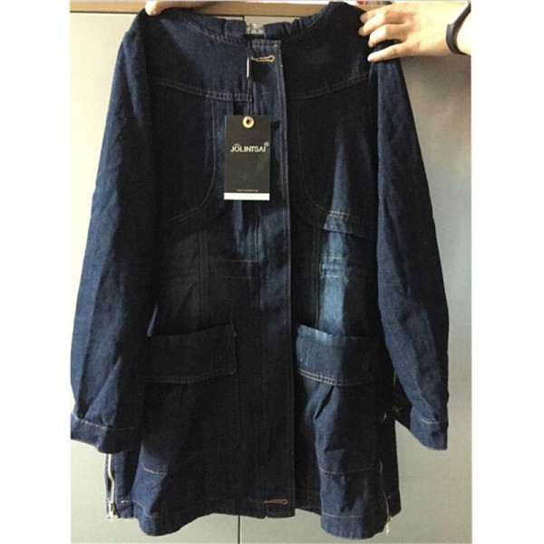 Large Size Casual Denim Jacket Women Long Sleeve Hooded Spring Autumn Mid Length Coats Slim Hot New Outerwear Plus Size Extra Image 6