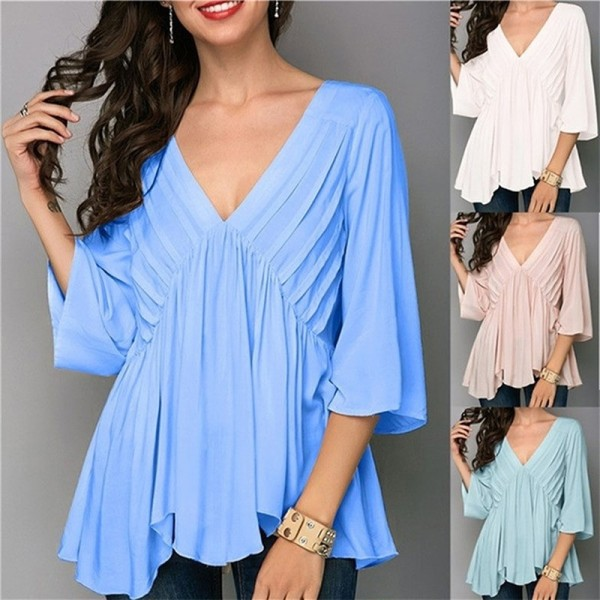 Large Size Cropped Sleeves Top Loose Wild Ladies Chiffon Blouse Solid Color Blouse Female Fold Feminine Blouse
