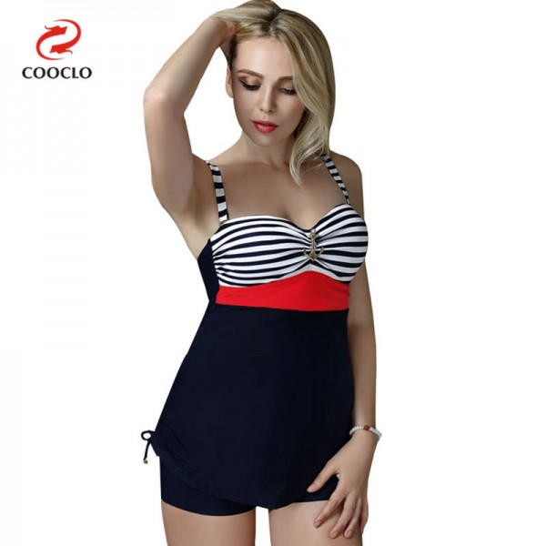 Large Stripe Printed Swimwear For Ladies Two Piece Vintage High Quality Plus Size Swimsuits For Women