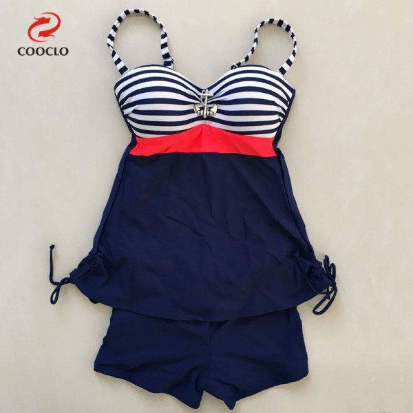 Large Stripe Printed Swimwear For Ladies Two Piece Vintage High Quality Plus Size Swimsuits For Women Extra Image 3