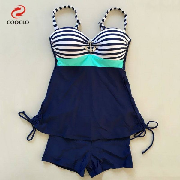 Large Stripe Printed Swimwear For Ladies Two Piece Vintage High Quality Plus Size Swimsuits For Women Extra Image 4