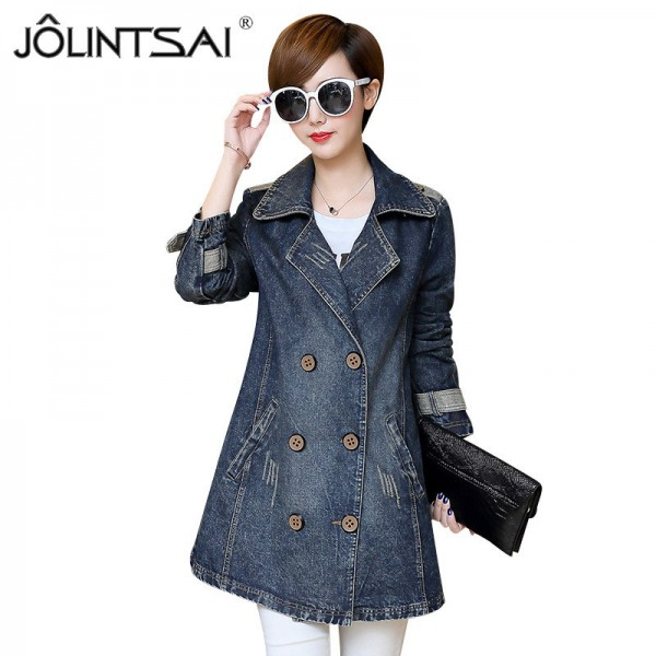 Larger Size Women Basic Coats Spring Jeans Jacket Double Breasted Long Denim Jacket Women Bomber Coat Casual Outerwear Extra Image 1