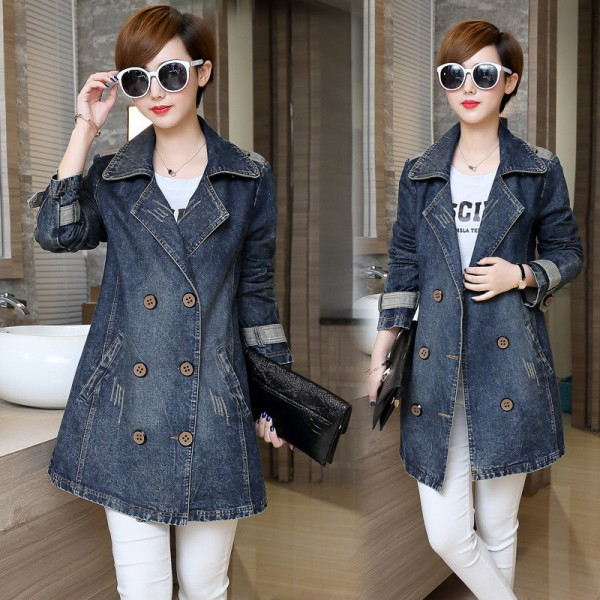 Larger Size Women Basic Coats Spring Jeans Jacket Double Breasted Long Denim Jacket Women Bomber Coat Casual Outerwear Extra Image 3