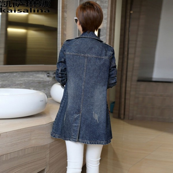Larger Size Women Basic Coats Spring Jeans Jacket Double Breasted Long Denim Jacket Women Bomber Coat Casual Outerwear Extra Image 4