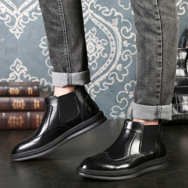 Latest Fashion Chelsea Boots Men Pointed Toe Autumn Winter Men Boots Leather Top Quality Ankle Boots For Men Extra Image 4