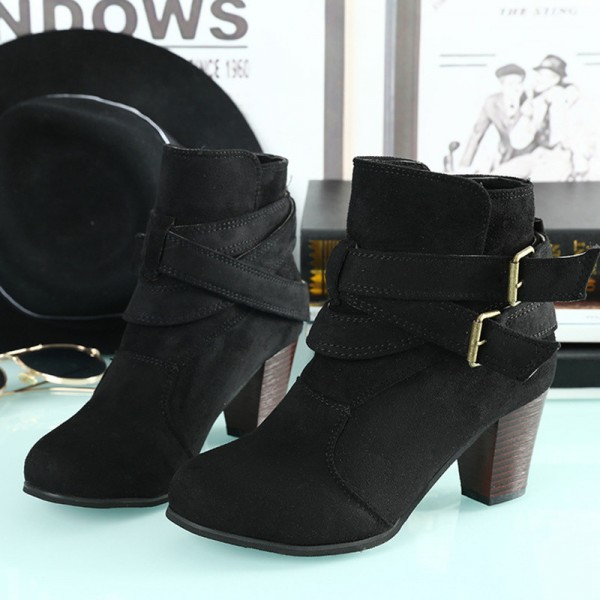 Latest model 2019 European American autumn and winter new matte Martin boots women belt buckle thick with ankle boots Extra Image 2
