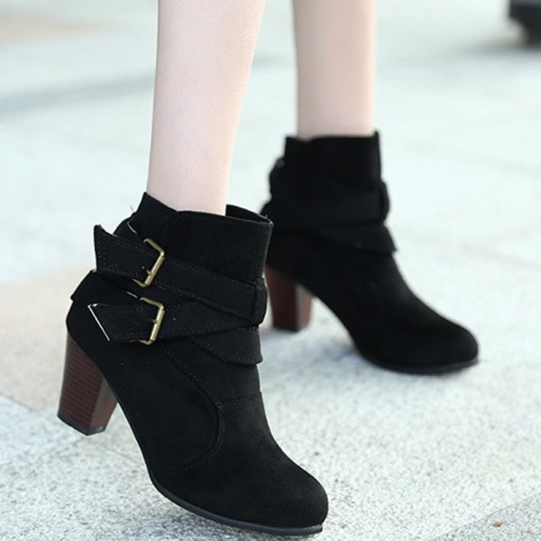 Latest model 2019 European American autumn and winter new matte Martin boots women belt buckle thick with ankle boots Extra Image 4