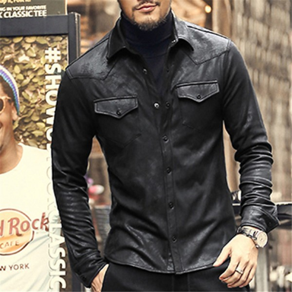 leather Jacket Shirts Men Plus velvet camisa social masculina Brand warm Slim Fit men black shirt long sleeve Autumn