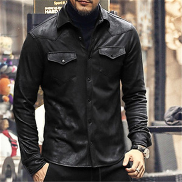 leather Jacket Shirts Men Plus velvet camisa social masculina Brand warm Slim Fit men black shirt long sleeve Autumn Extra Image 2