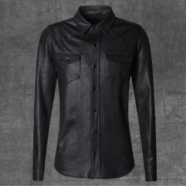 leather Jacket Shirts Men Plus velvet camisa social masculina Brand warm Slim Fit men black shirt long sleeve Autumn Extra Image 3