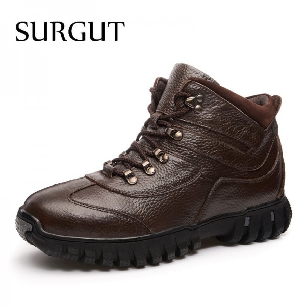 Leather Military Men Boots Combat Men Infantry Tactical Army Quality Boots Supper Warm Fur Winter Men Snow Boots