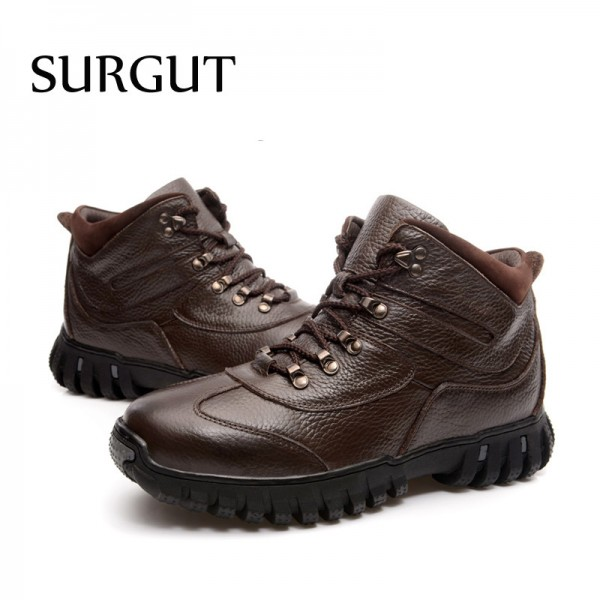 Leather Military Men Boots Combat Men Infantry Tactical Army Quality Boots Supper Warm Fur Winter Men Snow Boots Extra Image 5