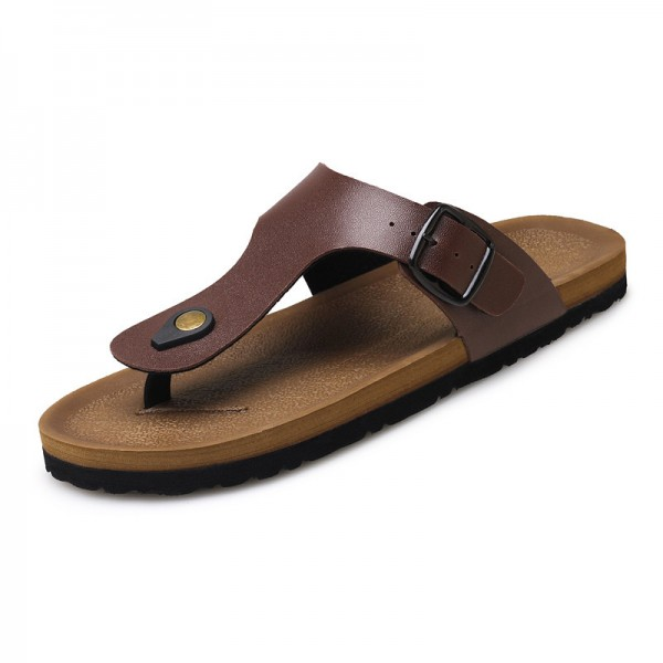 Leather Sandals Men Black Brown Flip Flops Casual Flat Sandals Summer Beach Slipper Men Comfort Design Flip Flops Shoes