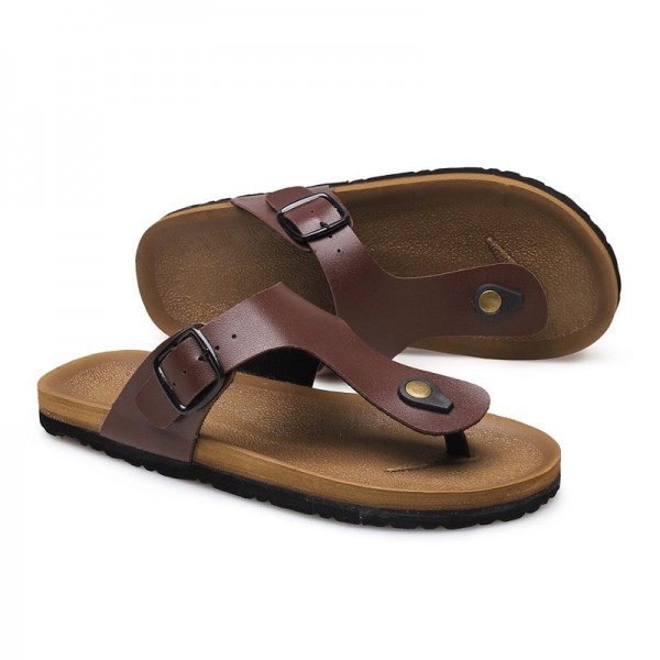 Leather Sandals Men Black Brown Flip Flops Casual Flat Sandals Summer Beach Slipper Men Comfort Design Flip Flops Shoes Extra Image 5