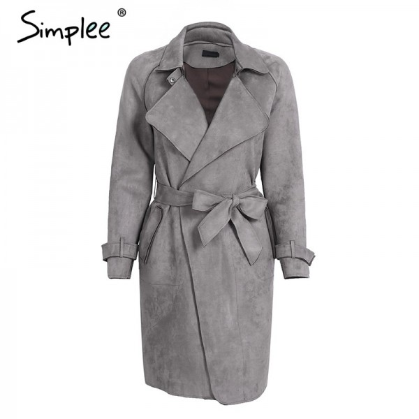 Leather suede winter autumn coat Women elegant belt  long windbreaker Casual turn down outerwear trench coat female Extra Image 3