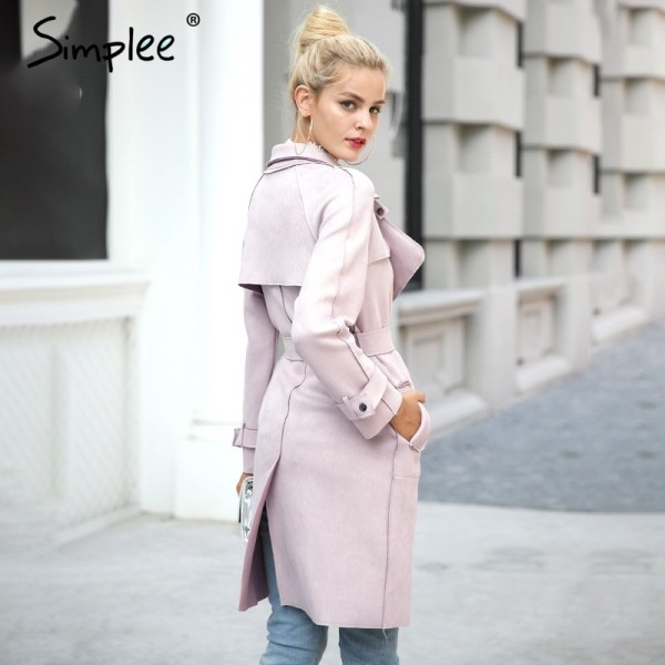 Leather suede winter autumn coat Women elegant belt  long windbreaker Casual turndown outerwear trench coat female Extra Image 2