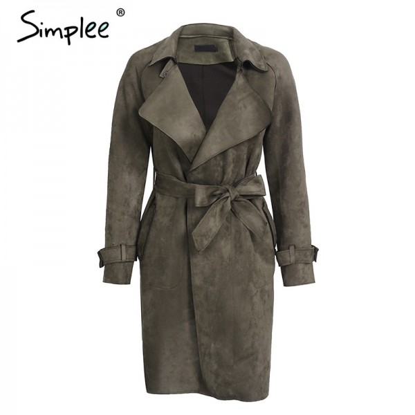 Leather suede winter autumn coat Women elegant belt  long windbreaker Casual turndown outerwear trench coat female Extra Image 4