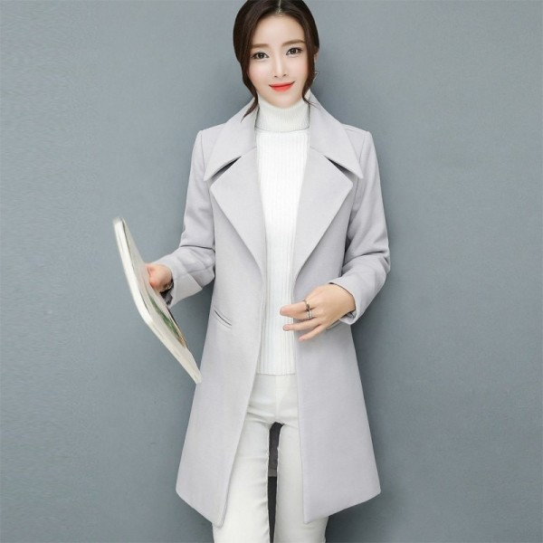 Leisure Elegant Ladies Woolen Long Coats Autumn Winter Fashion Thick Ladies Solid Bodycon Women Jackets Outerwear Extra Image 1
