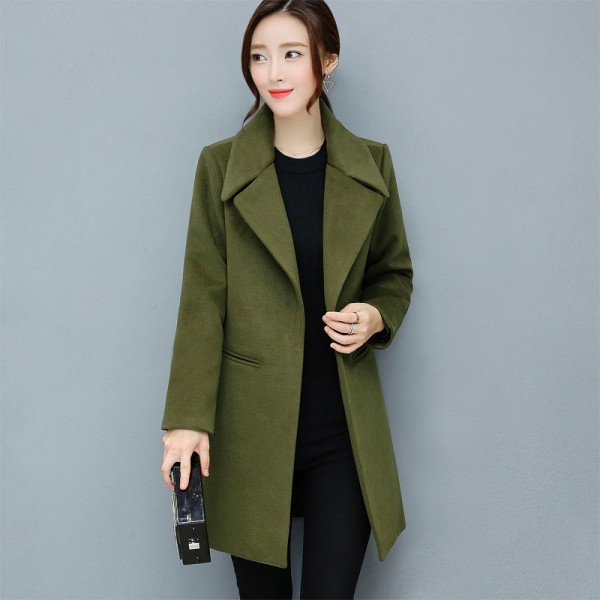 Leisure Elegant Ladies Woolen Long Coats Autumn Winter Fashion Thick Ladies Solid Bodycon Women Jackets Outerwear Extra Image 2