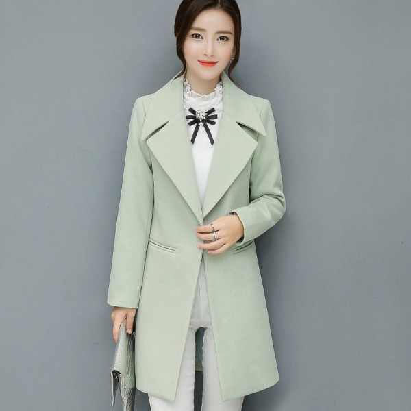 Leisure Elegant Ladies Woolen Long Coats Autumn Winter Fashion Thick Ladies Solid Bodycon Women Jackets Outerwear Extra Image 3