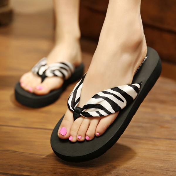Leopard Flip Flops 2018 Slip On Slides Casual Creepers Summer Style Platform Shoes Woman Plus Size Slippers Extra Image 3