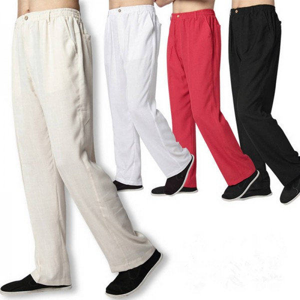 Linen Long Trousers Pants Loose Fitting Elastic Waist Casual Latest For Men Thumbnail
