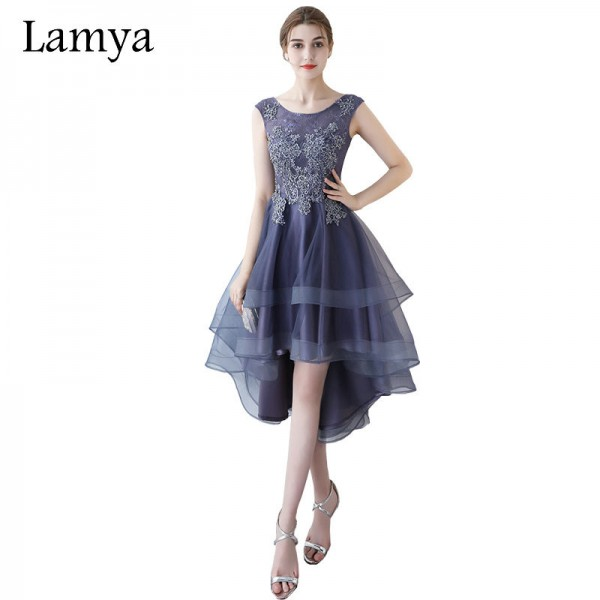 Long Back Evening Party Dresses Purple Lace With Beading Formal Dress Fashionable Plus Size vestido de festa Extra Image 1