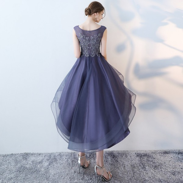 Long Back Evening Party Dresses Purple Lace With Beading Formal Dress Fashionable Plus Size vestido de festa Extra Image 2