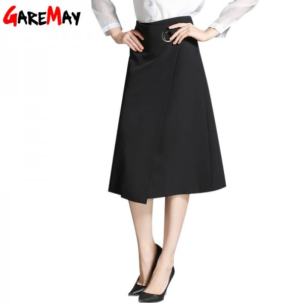 Long Black Skirt For Women Office Elegant Knee Length Warm Casual