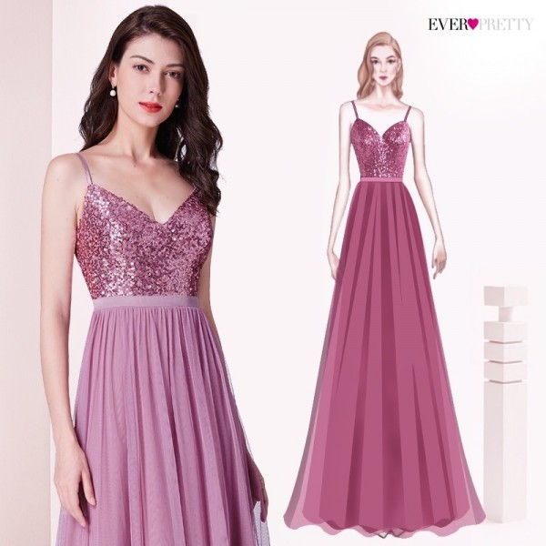 Long Bridesmaids Dresses Pretty Elegant Sequins A Line V Neck Tulle Wedding Party Gowns Prom Dresses For Ladies Extra Image 3