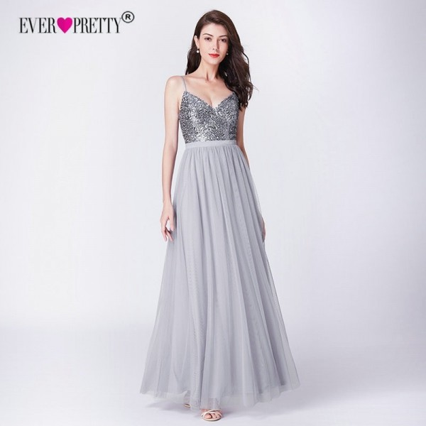 Long Bridesmaids Dresses Pretty Elegant Sequins A Line V Neck Tulle Wedding Party Gowns Prom Dresses For Ladies Extra Image 4