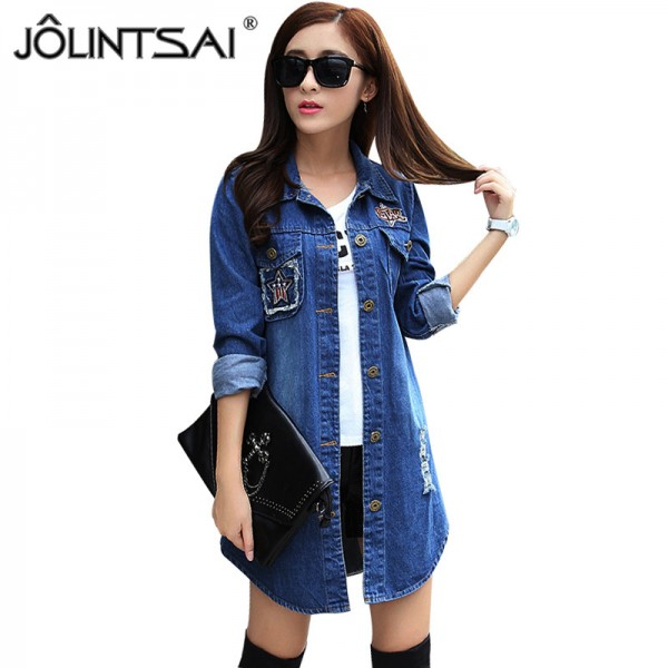 Long Denim Jacket Women 2016 New Women Jeans Jackets Korean Female Coat Hole Casual Women Outwear Extra Image 1