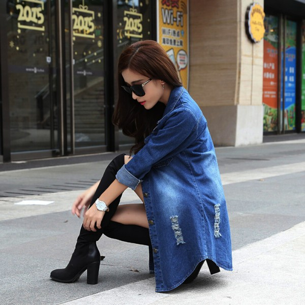 Long Denim Jacket Women 2016 New Women Jeans Jackets Korean Female Coat Hole Casual Women Outwear Extra Image 2