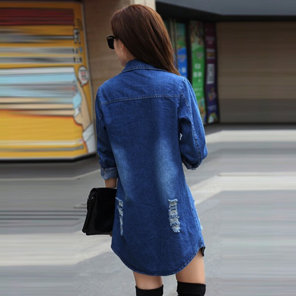 Long Denim Jacket Women 2016 New Women Jeans Jackets Korean Female Coat Hole Casual Women Outwear Extra Image 3