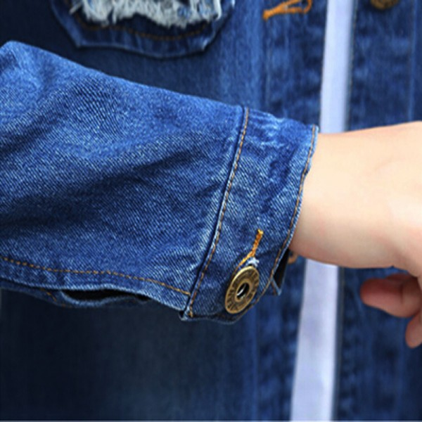 Long Denim Jacket Women 2016 New Women Jeans Jackets Korean Female Coat Hole Casual Women Outwear Extra Image 5