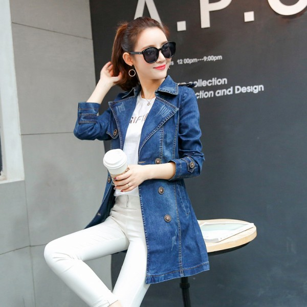 Long Denim Jacket Women New Autumn Vintage Cotton Jeans Jacket Fashion Turn Down Collar Long Sleeve Basic Coats Extra Image 3