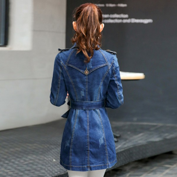 Long Denim Jacket Women New Autumn Vintage Cotton Jeans Jacket Fashion Turn Down Collar Long Sleeve Basic Coats Extra Image 4