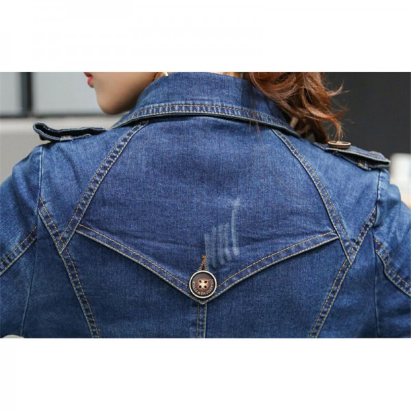 Long Denim Jacket Women New Autumn Vintage Cotton Jeans Jacket Fashion Turn Down Collar Long Sleeve Basic Coats Extra Image 6