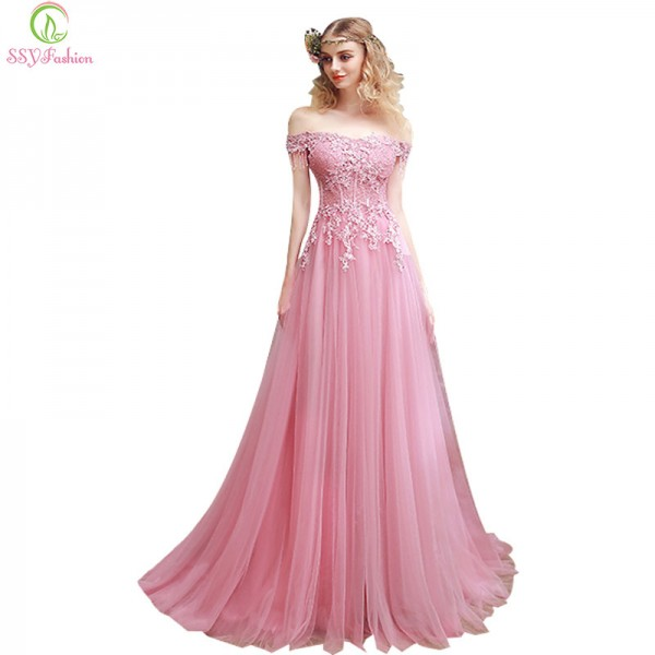 Long Embroidery Evening Dress The Bride Slim Sexy Sweep Train Long Prom Dress Custom Party Gown Pink Lace Formal Extra Image 1