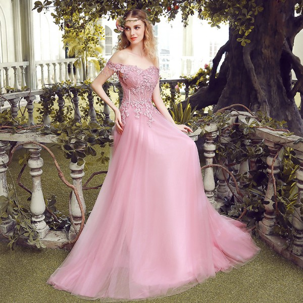 Long Embroidery Evening Dress The Bride Slim Sexy Sweep Train Long Prom Dress Custom Party Gown Pink Lace Formal