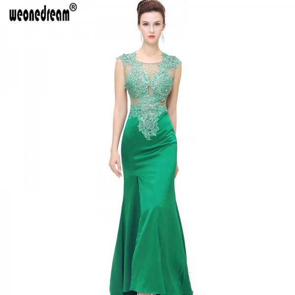 Long Lace Evening Dress Split Side Gown Pageant Dress For Wedding ...