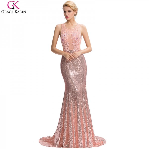 Long Mermaid Evening Dress Sequin Beaded Applique Lace Pink Backless Floor Length Party Dresses Elegant Formal Gowns