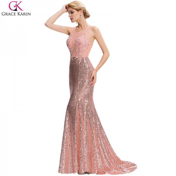 Long Mermaid Evening Dress Sequin Beaded Applique Lace Pink Backless Floor Length Party Dresses Elegant Formal Gowns Extra Image 4