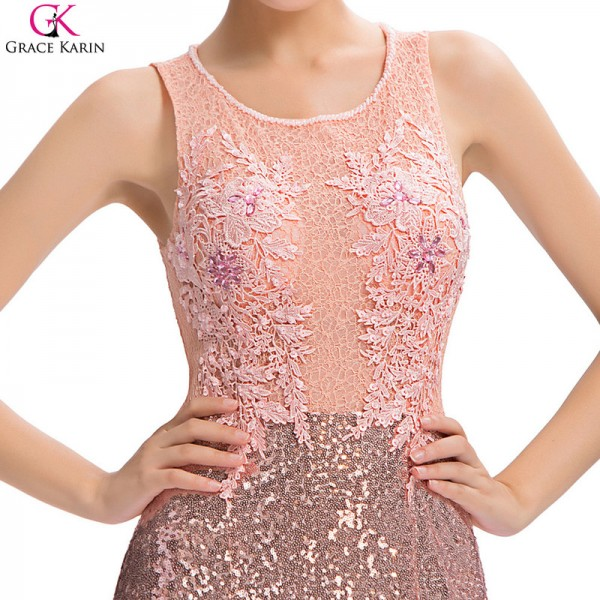Buy Long Mermaid Evening Dress Sequin Beaded Lace Pink Backless ...